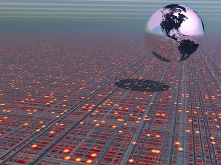 Earth globe above a tech type landscape Stock Photo - 1236377