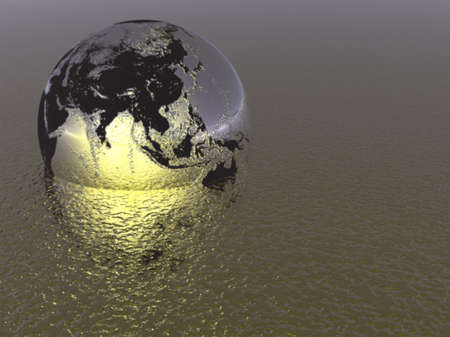 Earth globe above a tech type landscape Banco de Imagens