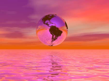 Earth globe in very hot climate change scene