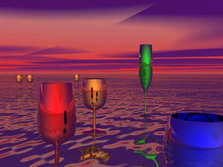 various glasses in surreal landscape