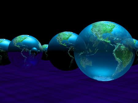 暗い背景に対して複数の惑星の地球 写真素材