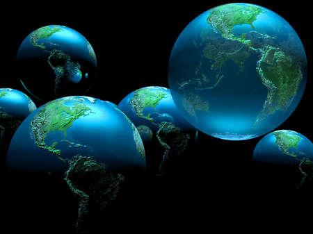 multiple planet Earths against a dark background