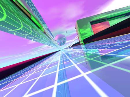 サイバー スペースの抽象的な 3次元表現とインターネット