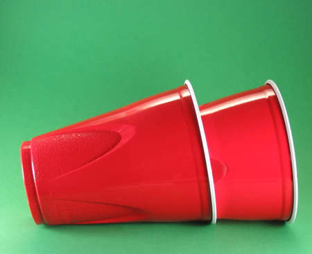 party picnic and celebration disposable red plastic cups Stock Photo