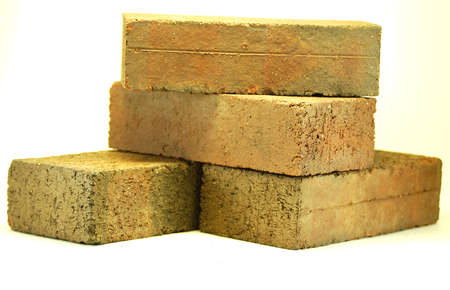 plain house bricks isolated on a white background