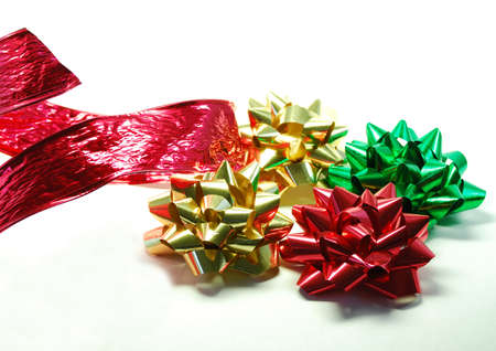 Festive ribbons and bows as used in wrapping gifts for holiday or birthday