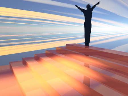 3D illustration of a figure at the top of a staircase symbolizing success and achievement