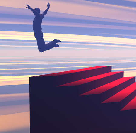 3D illustration of a figure leaping at the top of a staircase symbolizing success and achievement