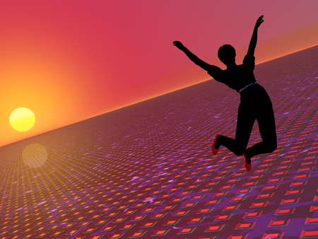 ハイテク未来的な背景の上高くジャンプ女性の 3 D イラストレーション 写真素材