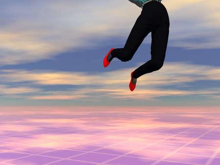 ハイテク未来的な背景を飛び越えて高女性の 3 D イラストレーション 写真素材