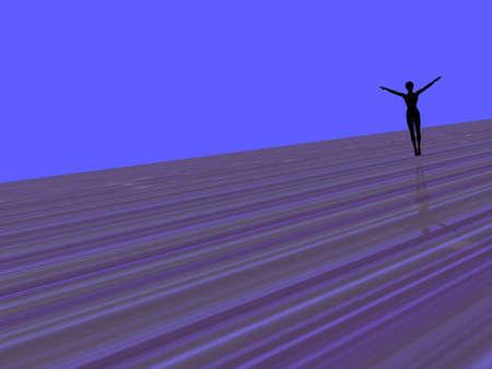 単純な pramarily 青い背景に女性のシルエットの 3 D イラストレーション