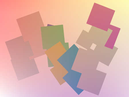 Random pastel colored squares on a graduated pastel background Stock Photo