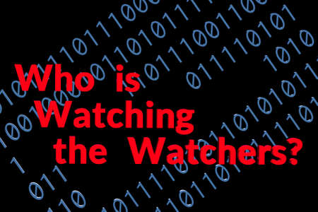 Text about being watched on background of binary digits one and zero