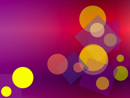 Random colored squares and circles on a graduated background Stock Photo