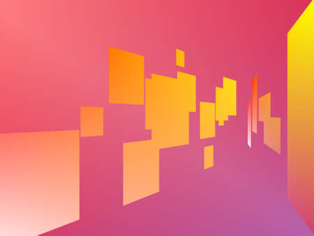 random shapes giving a perspective effect on pink background