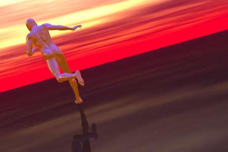 Runner in science fiction landscape 3D render Stock Photo