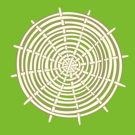 Perfect round bamboo mat for eating background Vector illustration.