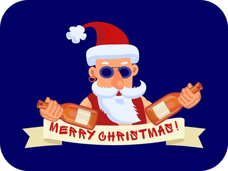 Bad Santa Claus with two bottles of booze and ribbon Marry Christmas on a blue background