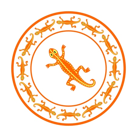 Orange lizards circle frame. Vector illustration for you perfectly design. Vettoriali
