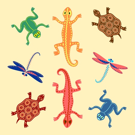 Colored frogs, lizards, turtles and dragonflies based on African ethnic motifs