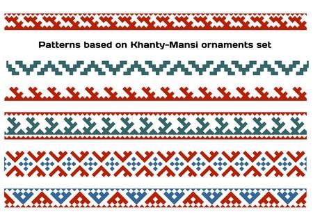 Siberian folk ornaments set Illustration