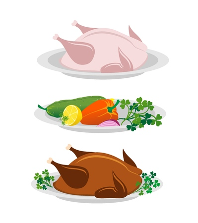 Raw chicken, whole Homemade thanksgiving turkey, vegetables with greens on plates. Vector illustration for you perfectly design. Фото со стока - 116843798
