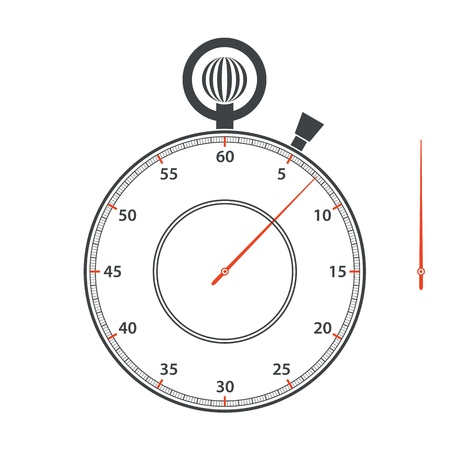 Stopwatch dial and stopwatch hand on white background. Vector clip art