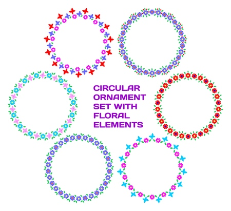 Circular ornament set with floral elements. For your elegant design