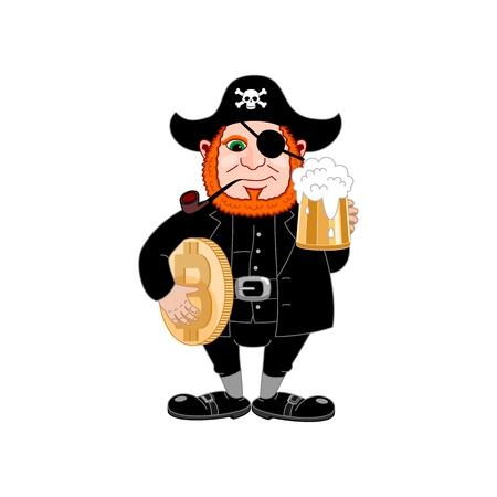 International Talk Like A Pirate Day. Eye patch, smoking pipe, mug of beer and bitcoin. Filibuster cap. Bones and Skull. Head corsair red beard. Vector illustration