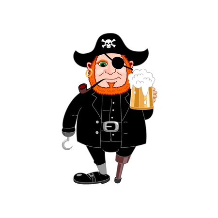 International conversation as a pirate day. Eye patch, hand hook, wooden leg, smoking pipe and beer mug. Cover filibuster. Bones and Skull. Head of a corsair is a red beard. Vector illustration