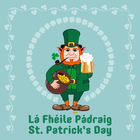 Saint Patrick s Day party flyer. Leprechaun with a mug of beer, a smoking pipe and a pot of gold coins. Vector illustration Ilustração