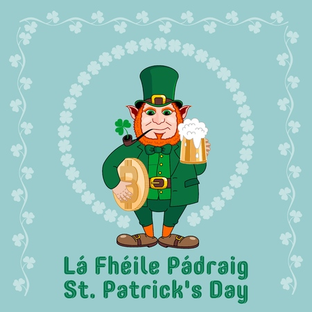Saint Patrick s Day party flyer. Leprechaun with a mug of beer, a smoking pipe and bitcoin. Vector illustration Banco de Imagens - 116843814