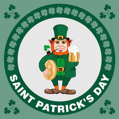 Saint Patrick s Day party flyer. Leprechaun with a mug of beer, a smoking pipe and bitcoin. Vector illustration Banco de Imagens - 116843815