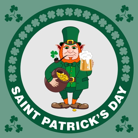 Saint Patrick s Day party flyer. Leprechaun with a mug of beer, a smoking pipe and a pot of gold coins. Vector illustration Banco de Imagens - 116843816