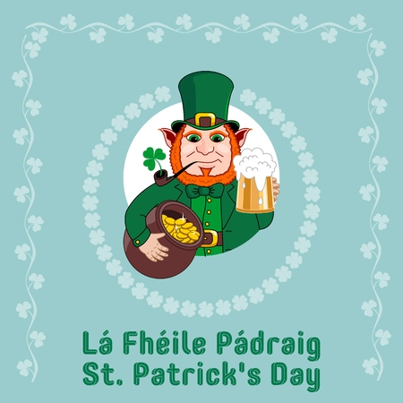 Saint Patrick s Day party flyer. Leprechaun with a mug of beer, a smoking pipe and a pot of gold coins. Vector illustration Banco de Imagens - 116843817