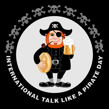 International conversation as a pirate day. Eye patch, smoking pipe, mug of beer and bitcoin. Filibuster cap. Bones and Skull. Head corsair red beard. Vector illustration