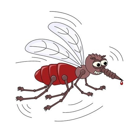 Angry Mosquito with a drop of blood on the sting. Cartoon Character