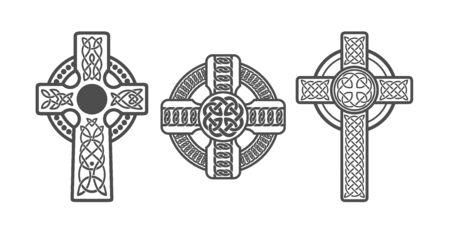 Three Celtic Crosses. Vector Tattoo Or Art Archivio Fotografico - 130204086