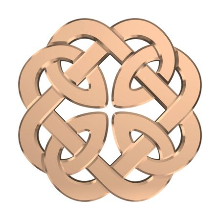 Golden Celtic Knot isolated on white background. Religion symbol. Irish knot. 3D rendering Banque d'images