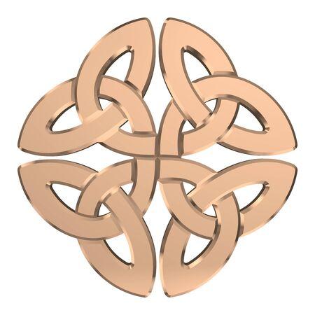 Goldener keltischer Knoten lokalisiert auf weißem Hintergrund. Religionssymbol. Irischer Knoten. 3D-Rendering Standard-Bild