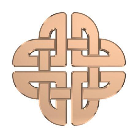Golden Celtic Knot isolated on white background. Religion symbol. Irish knot. 3D rendering