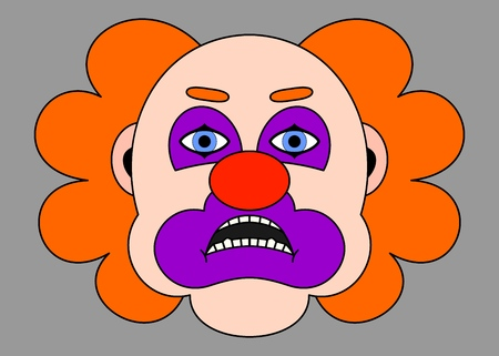 Sad red clown with orange hair. Vector illustration