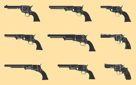 Revolvers firearms guns collection set. Nine shooter pistol Çizim