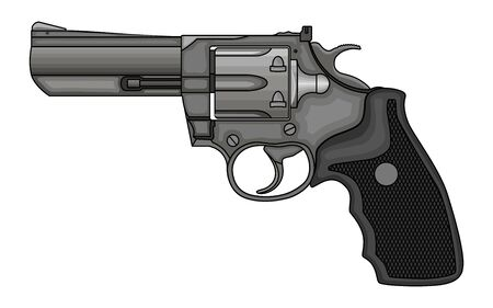 Revolver Pistol on white background. Vintage Revolver Drawing