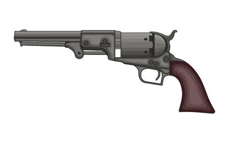 Pistolet revolver sur fond blanc. Dessin de revolver vintage