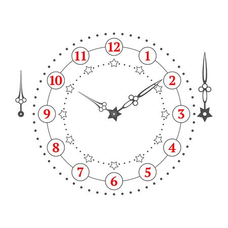 Vintage stars watch dial with arrows. Vector illustration