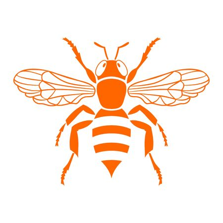 Orange bee stencil. Vector Illustration Isolated on White