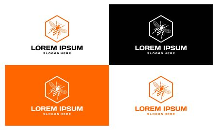 Lorem Ipsum honeycomb and bee set. Honey vector four kinds Иллюстрация