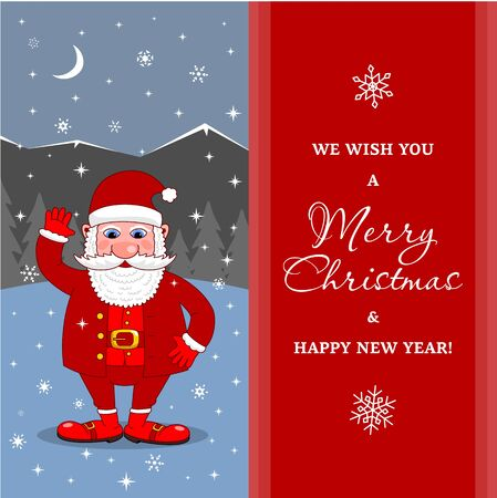 Santa Claus signboard. Merry Christmas and Happy New Year Holiday greeting card  イラスト・ベクター素材