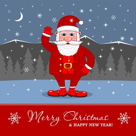 Santa Claus signboard. Merry Christmas and Happy New Year Holiday greeting card Vettoriali